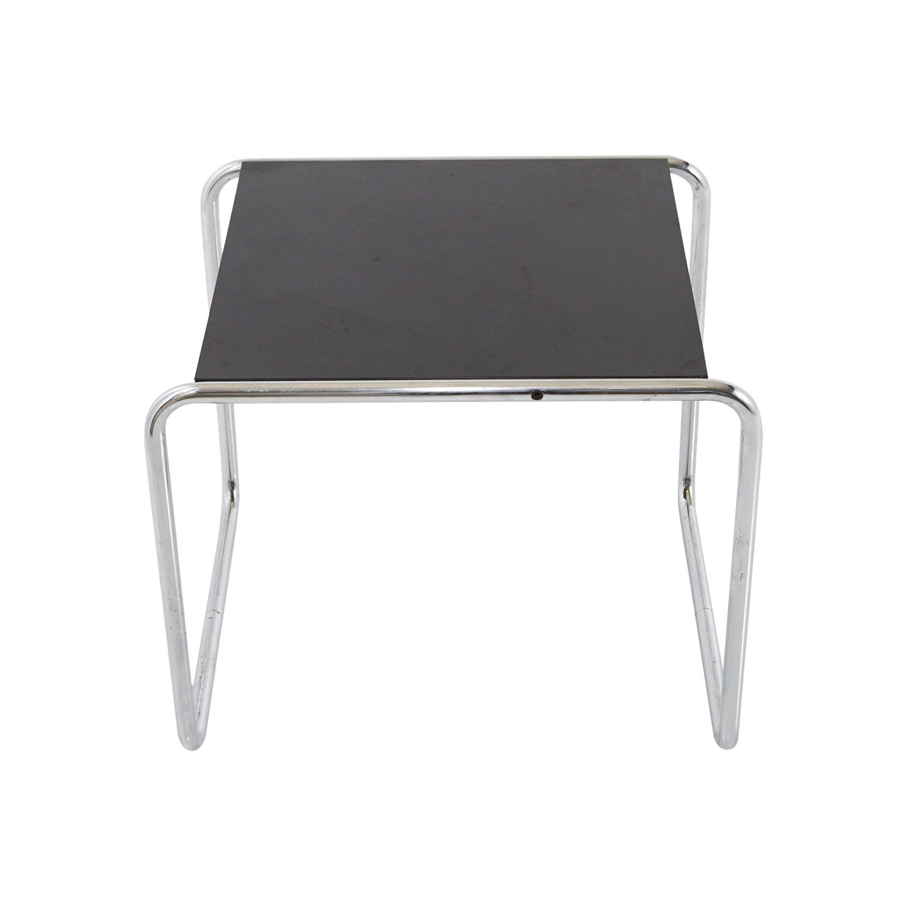 Marcel Breuer - Laccio Side Table Black Laminated Top with Tubular Chromed Base