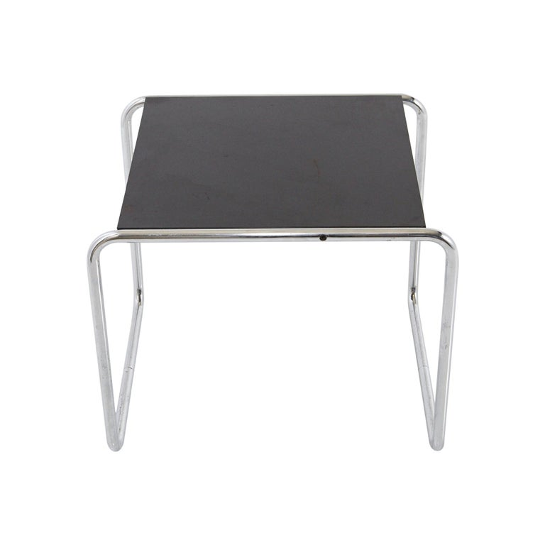 Marcel Breuer - Laccio Side Table Black Laminated Top with Tubular Chromed Base For Sale