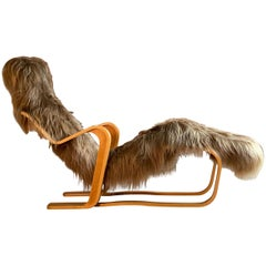 Marcel Breuer Long Chair in Icelandic Long Haired Sheepskin by Isokon circa 1970