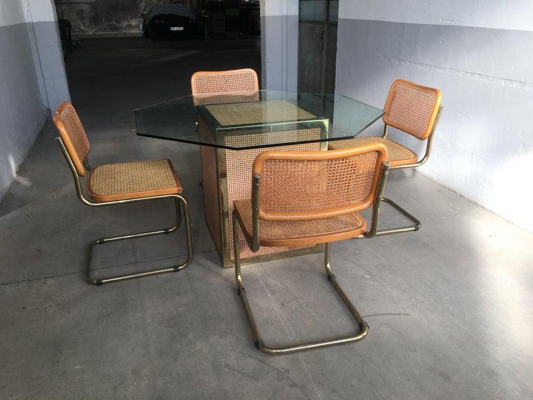 Marcel Breuer Mid-Century Modern Italian Set of 4 Gilt Metal