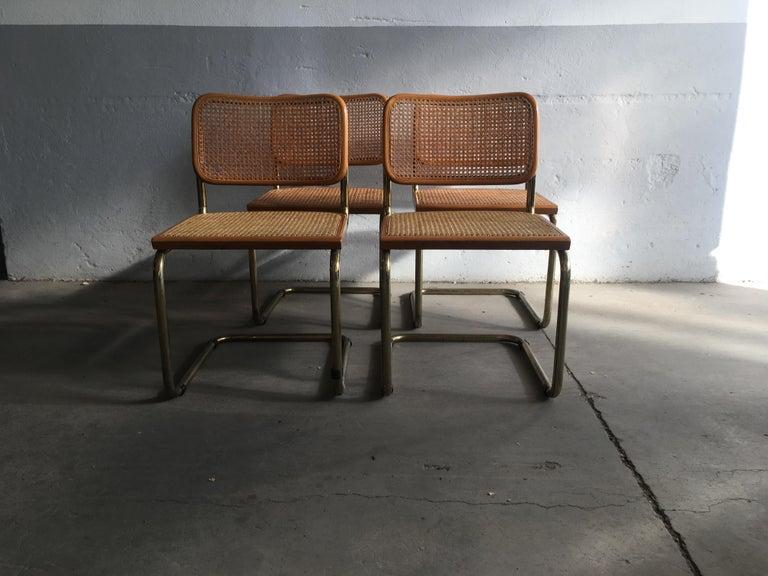 Mid-Century Modern Italian set of 4 gilt metal wooden