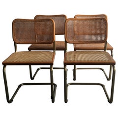 "Marcel Breuer Mid-Century Modern Italian Set of 4 Gilt Metal ""Cesca"" Chairs"
