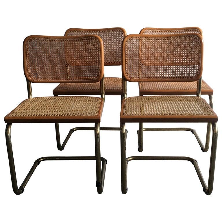 "Marcel Breuer Mid-Century Modern Italian Set of 4 Gilt Metal ""Cesca"" Chairs For Sale"