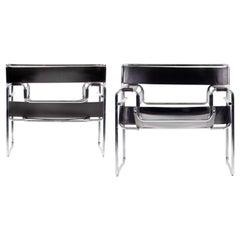 Marcel Breuer Model B3 Wassily Armchair Lounge, Gavina, Knoll, 1960s, Deep Brown