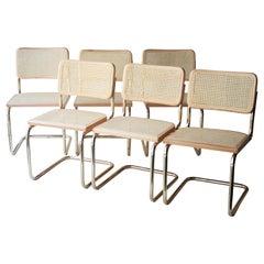 Marcel Breuer MYC Gavina Gold Beige Beechwood Cesca Brass Chair, Italia, 1960