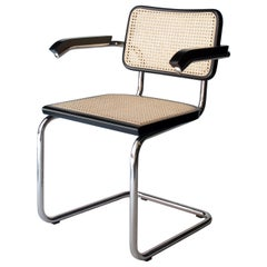 After Marcel Breuer Cane Webbing Chrome Black Beechwood Chair, Italy
