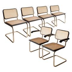 Marcel Breuer MYC Gavina Gold Black Oak Wood Cesca Brass Chair, Italia, 1960