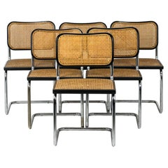 Marcel Breuer, Series of Six Chairs B32 in Black Lacquered Wood, 1970's