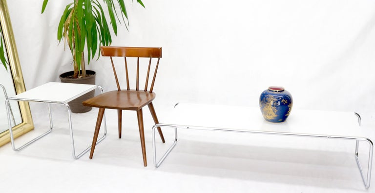 Mid-Century Modern tubular frame design set of rectangular coffee table and a side table measuring: 19 x 21.5 x 18.