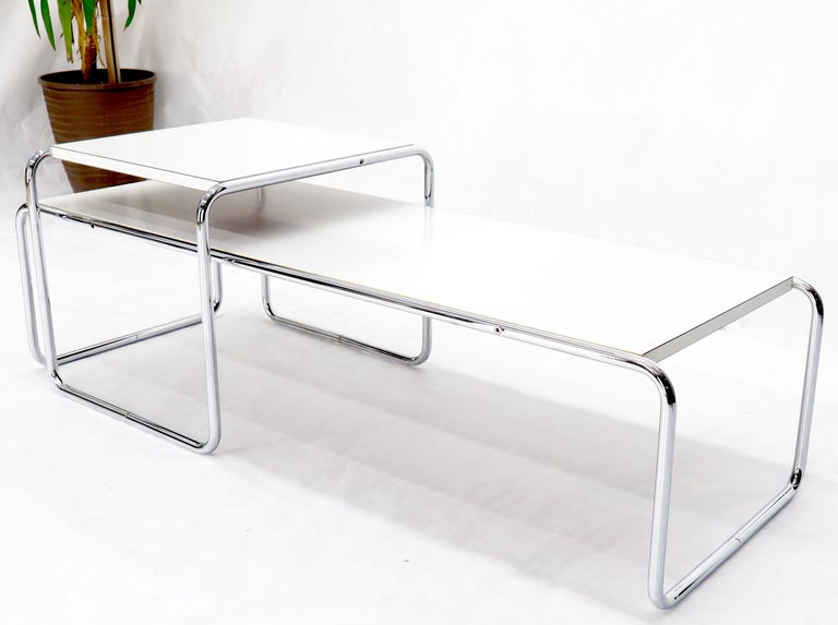 Mid-Century Modern Marcel Breuer Set of Nesting Rectangle Coffee and Side Table Stendig, Finland For Sale