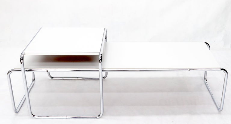 Finnish Marcel Breuer Set of Nesting Rectangle Coffee and Side Table Stendig, Finland For Sale