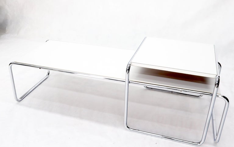 Chrome Marcel Breuer Set of Nesting Rectangle Coffee and Side Table Stendig, Finland For Sale