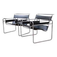 Marcel Breuer Style Black Leather and Chrome Wassily Chairs, Pair