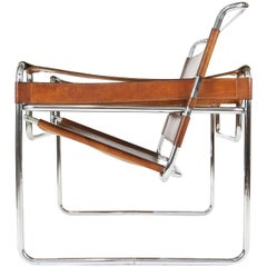 Marcel Breuer Style Wassily Chair in Tanned Leather from 1960s