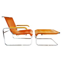 Marcel Breuer Vintage B35 Leather and Chrome Cantilever Armchair and Footstool