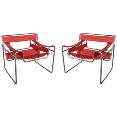 Marcel Breuer, Wassily Red Leather and Chromed Pair of Armchairs, Italy, 1970