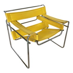 Marcel Breuer Wassily Style Yellow PVC Leather Chair Armchair