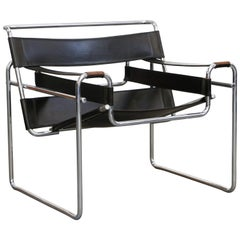 Marcel Breuer Wassily Styled Chrome and Black Leather Sling Chair, c. 1980