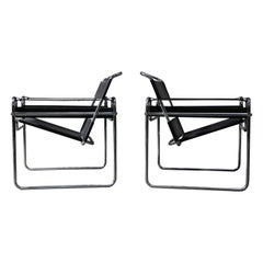 Marcel Breuer Wassily Styled Chrome and Black Leather Sling Chairs, Pair