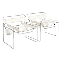 Marcel Breuer's Wassily Design Style Pair of Armchairs