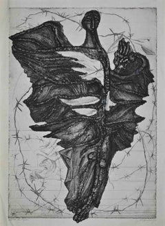 The Flyer - Original Etching on Paper by Marcel Chirnoaga - 1969