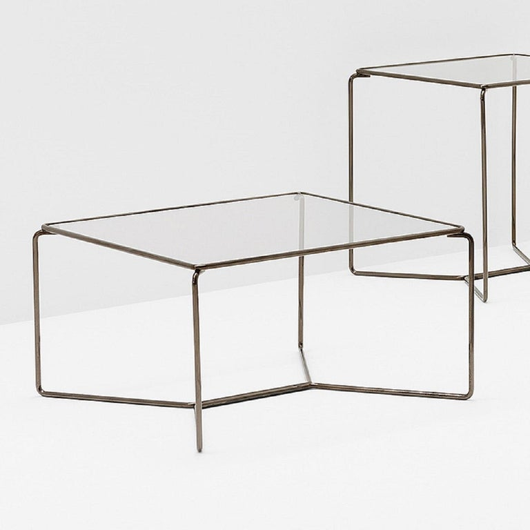 With a clean minimalist design, the superb Marcel Coffee Table is a stylish revisitation of a last century classic. Available in carbon steel with an extra clear glass top.