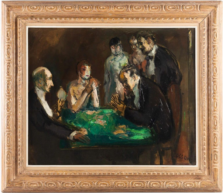 Marcel Cosson oil on canvas The Card Players, circa 1920.