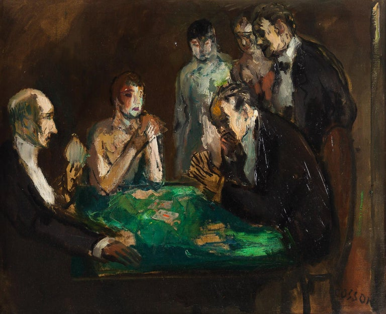 French Marcel Cosson Oil on Canvas The Card Players, circa 1920 For Sale