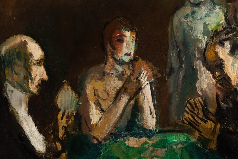 Painted Marcel Cosson Oil on Canvas The Card Players, circa 1920 For Sale