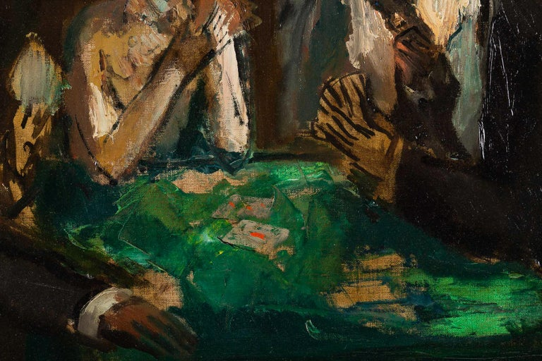 Marcel Cosson Oil on Canvas The Card Players, circa 1920 For Sale 1