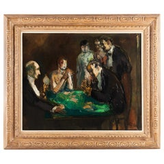 Marcel Cosson Oil on Canvas The Card Players, circa 1920