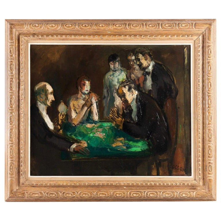 Marcel Cosson Oil on Canvas The Card Players, circa 1920 For Sale
