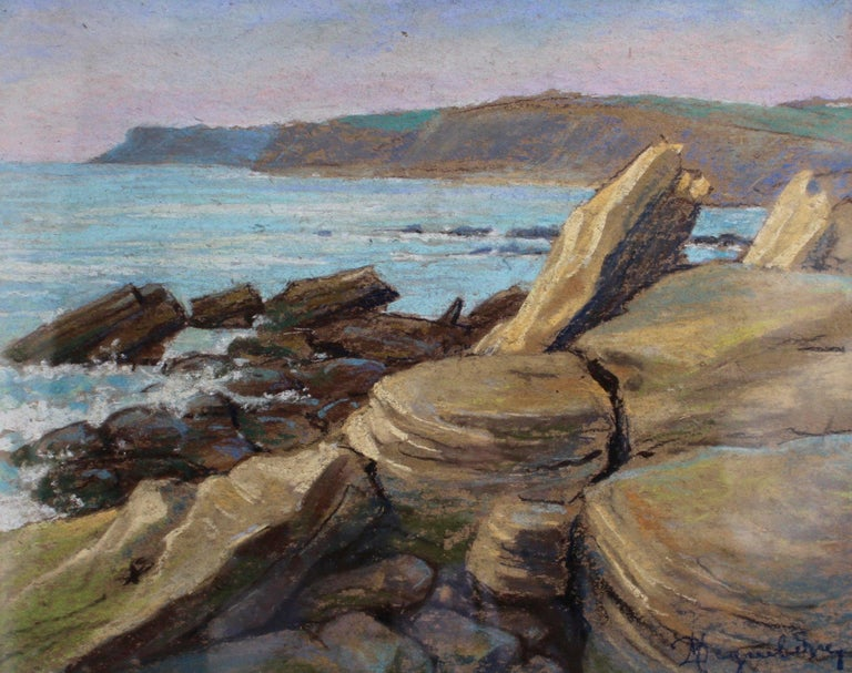 'Rocky Shore Audresselles, France', pastel on fine paper, in original frame, by Marcel Degueldre (circa 1930s). A visually stunning seascape with colours true to form and the impeccable execution of an academic artist. The Northern French rocky