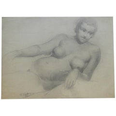 """Marcel Delmotte """"Nude Couché"""", Drawing Signed M. Delmotte and Dated"""