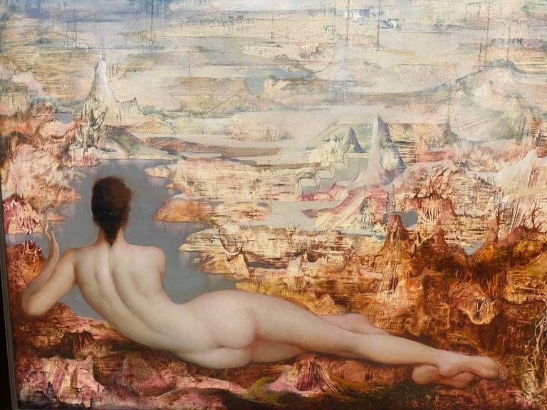 Mid-Century Modern Marcel Delmotte, Oil on Panel Painting