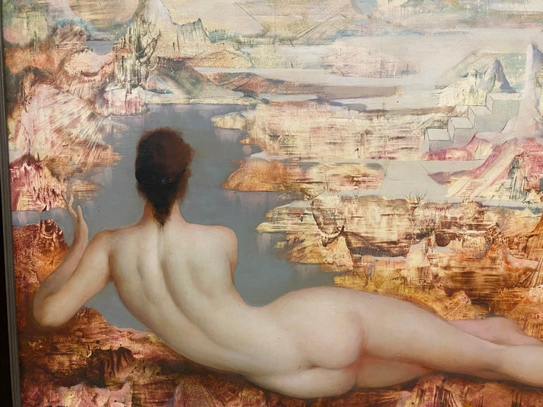 Late 20th Century Marcel Delmotte, Oil on Panel Painting