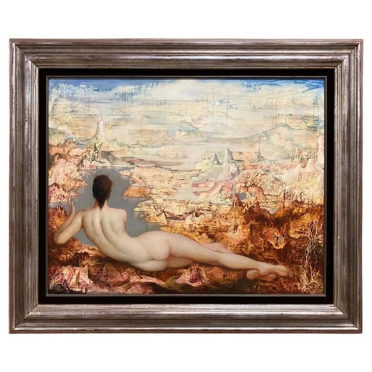 """Marcel Delmotte, Oil on Panel Painting """"A L'aube Des Temps Futurs"""", 1981 For Sale"""