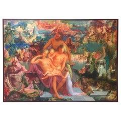 "Marcel Delmotte, Oil on Panel Painting ""L'automne"", 1979, Surrealism"