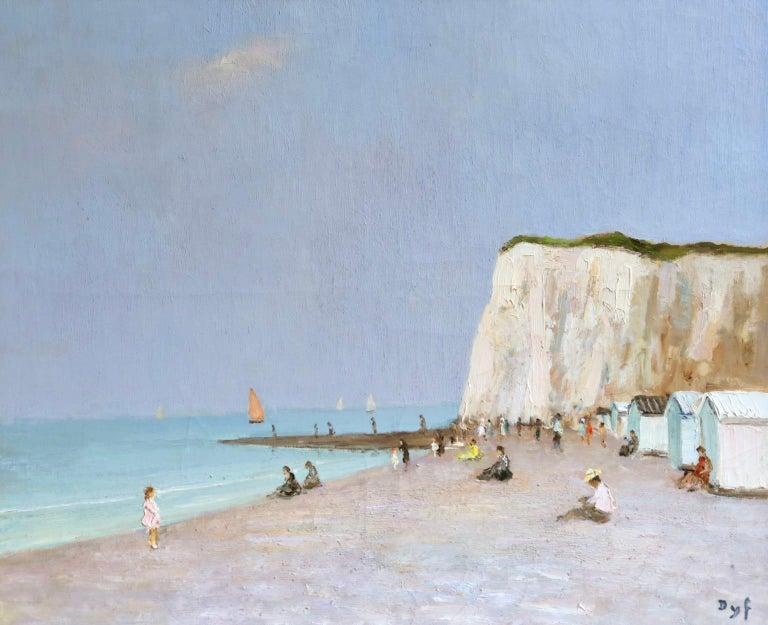Baigneurs sous les falaises - Post Impressionist Oil, Landscape by Marcel Dyf For Sale 1