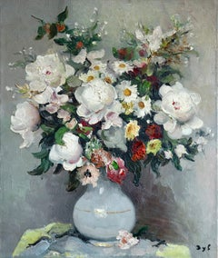 Bouquet de Fleurs - large signed oil on canvas by Marcel Dyf - Flowers in Vase