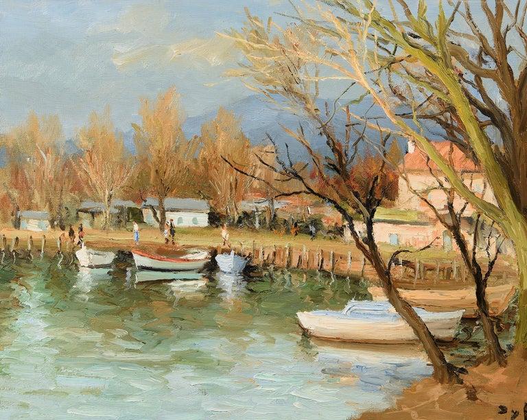 Canots sur la Siagne - Painting by Marcel Dyf