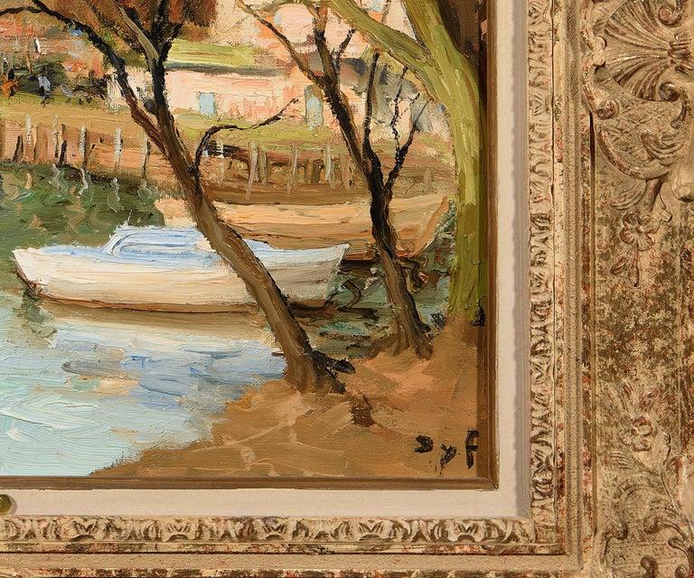 Canots sur la Siagne - Brown Figurative Painting by Marcel Dyf