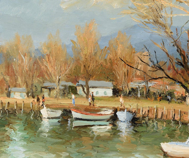 Unframed dimensions specified.  Here Dyf has captured an idyllic segment of the 44.5 kilometre-long river Siagne, with row boats and canoes resting along the bank. The picturesque Siagne spans across the Alpes-Maritimes and Var regions of southeast