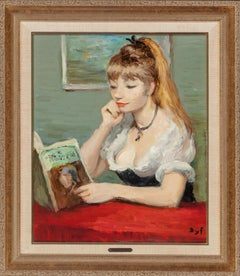 """""""Claudine à la lecture"""" Oil on Canvas 21 3/4 x 18  rare Claudine girl book"""