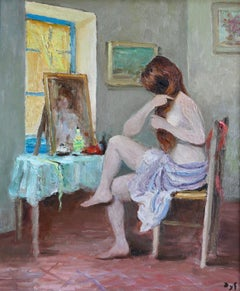 Claudine doing her hair - 20th Century Oil, Nude in Interior by Marcel Dyf
