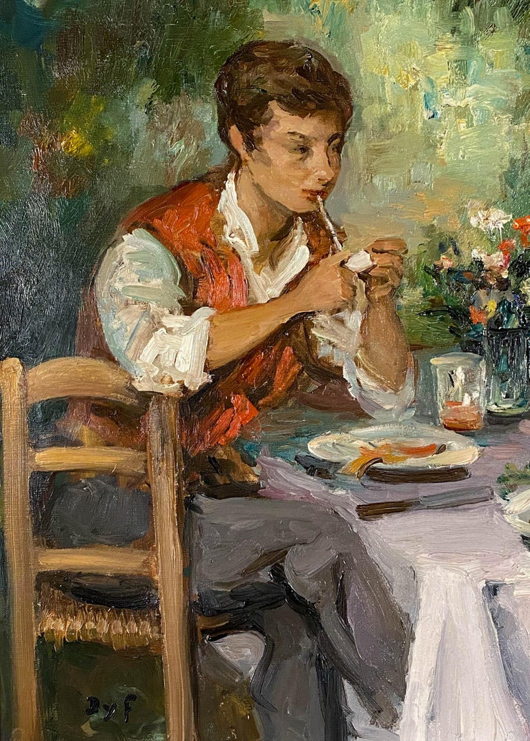 Djeuner Champtre - Brown Figurative Painting by Marcel Dyf