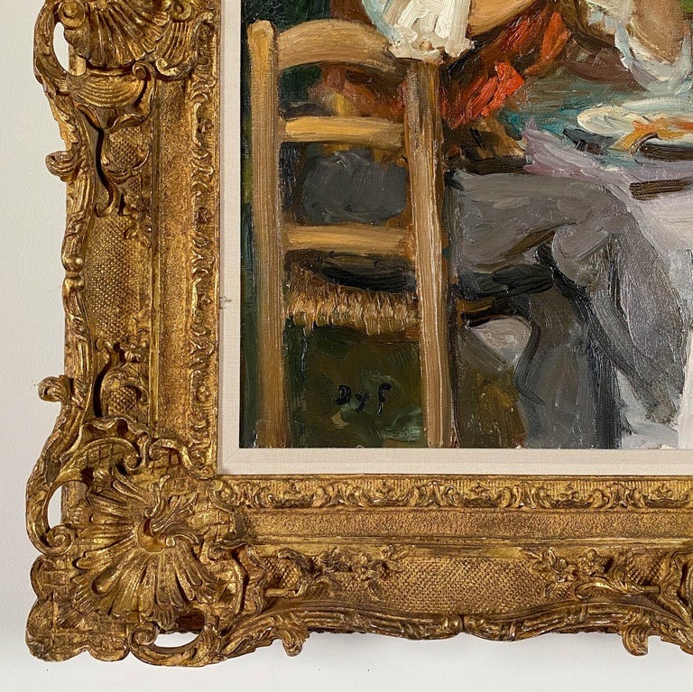 Marcel Dyf French, 1899-1985 Djeuner Champtre  Oil on canvas 23 ½ by 28 ¾ in.  W/frame 31 ½ by 36 ¾ in. Signed lower left  Marcel Dyf (Marcel Dreyfus) was born in Paris on October 7, 1899. As a youth, he was influenced by the Impressionist and