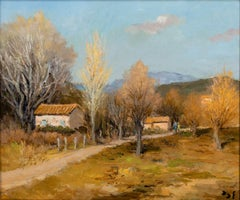 French Impressionist Landscape of Provence 'Afternoon Stroll' by Marcel Dyf