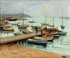 French Impressionist Landscape Painting by Marcel Dyf 'Le Port Cannes'