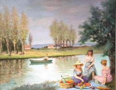 French Impressionist Landscape Painting by Marcel Dyf 'Picnic by the River'
